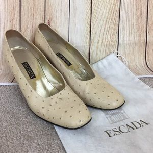 Escada Ivory Ostrich Skin Leather Heels Size 8.5B